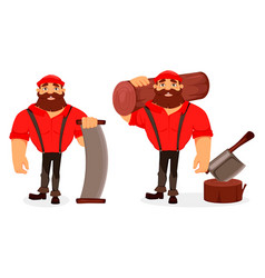 Lumberjack handsome logger cartoon character vector