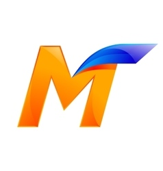 M letter blue and Orange logo design Fast speed vector image