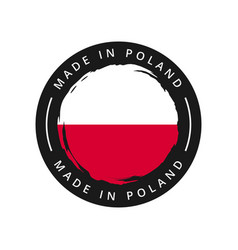 made in poland round label vector image