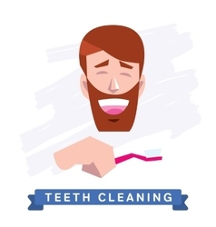 Man cleaning teeth Beautiful white teeth smile vector