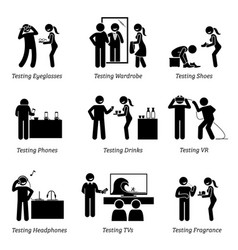 Man testing products at shop stick figure vector