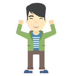 Man with raised hands up vector