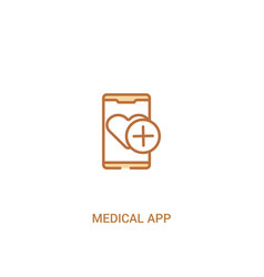 Medical app concept 2 colored icon simple line vector