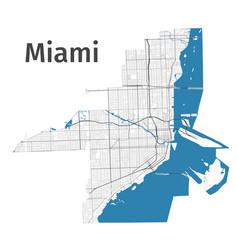 Miami map detailed map miami city vector