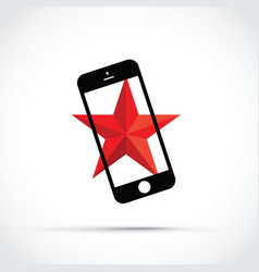 mobile cell phone with a red star background vector image