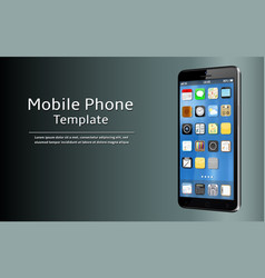 mobile phone template smart phone with app icons vector image