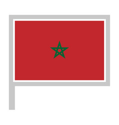 Morocco flag on flagpole icon vector