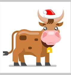 new year ox cow animal santa claus hat flat design vector image