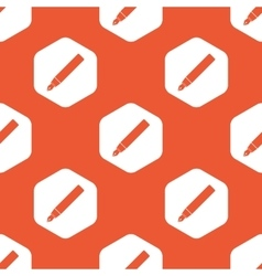 Orange hexagon ink pen pattern vector image