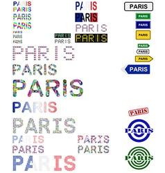 Paris text design set vector