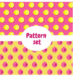 patterns set pattern with half of pomegranate and vector image