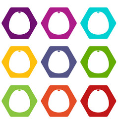 Pomelo icon set color hexahedron vector