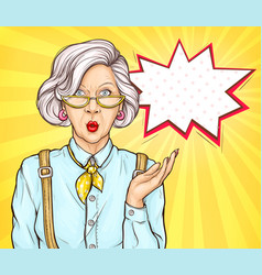 Pop art old woman surprised wow face expression vector