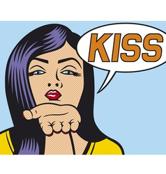pop art woman blowing a kiss vector image