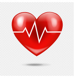 Red heart with heart beat isolated transparent vector