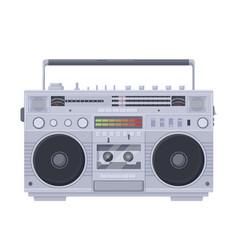 Retro boombox cassette old portable single vector