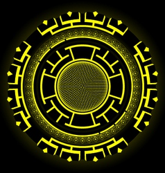 Round Futuristic Design With Black And Yellow vector