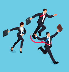 running businessmen isolated on blue background vector image