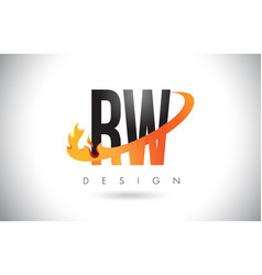 rw r w letter logo with fire flames design and vector image