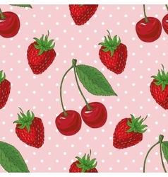Seamless Pattern with Strawberry and Cherry vector