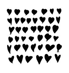 set hand-drawn doodle hearts valentines heart vector image