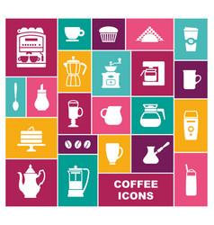 set icons on a coffee theme vector image