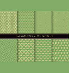 set of japanese traditional seamless patterns vector image