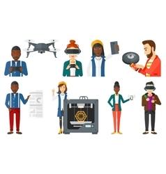 set of people using modern technologies vector image