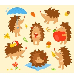 Set of simple cute hedgehogs vector image