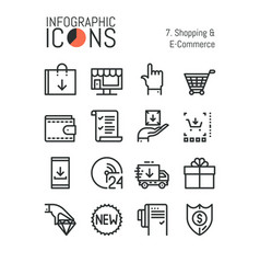 set of simple thin line icons shopping and e vector image