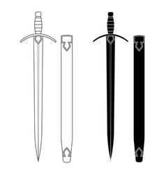 set of swords with scabbard vector image