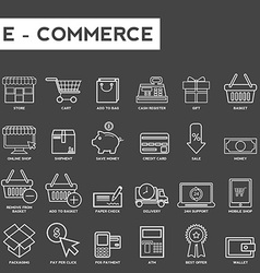 Set of thin lines web icons for e-commerce vector image