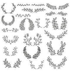 set of wreaths and dividers vector image