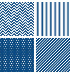 set seamless patterns in classic blue vector image