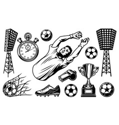 Set soccer elements and players vector
