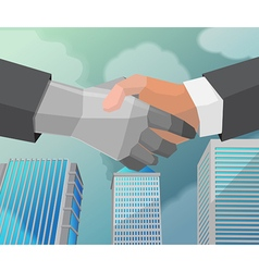 Shake Hand Business Partner City vector image
