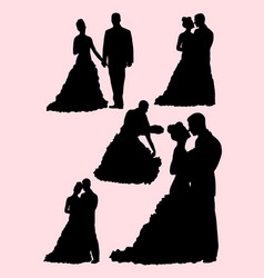 Silhouette of bride and groom vector