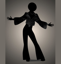 Silhouette of man dancing soul funky or disco vector