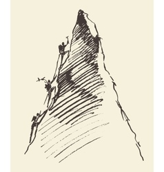 Sketch people climbing mountain peak vector