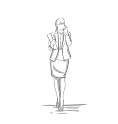 Sketch silhouette of confident business woman vector