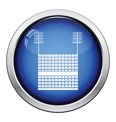 Stadium tribune with seats and light mast icon vector