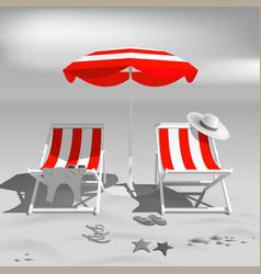 summer recliners and beach umbrella black vector image