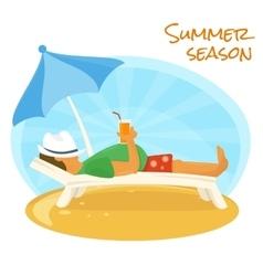 Summer sunbathe vector