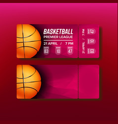 Ticket tear-off coupon on basketball match vector