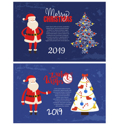 warm wishes and merry christmas 2019 posters set vector image