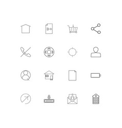 Web applications linear thin icons set outlined vector
