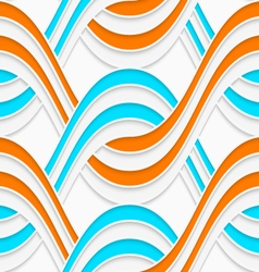 White embossed interlocking waves with blue and vector