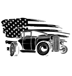 with hot rod on grunge american flag vector image