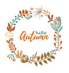 wreath autumn leaves and fruit in doodle vector image
