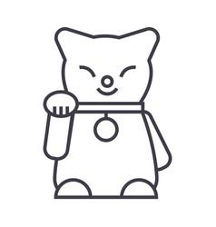 maneki neko line icon sign vector image